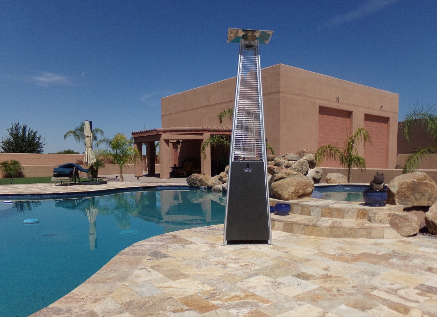 Residential Quartz Glass Tube Patio Heater   Hammered Silver