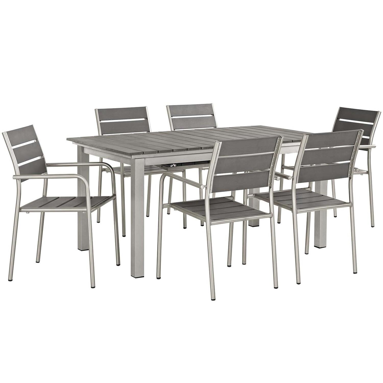 Shoreline 7 Piece Outdoor Aluminum Extension Dining Table Set   Aluminum Dining Chairs