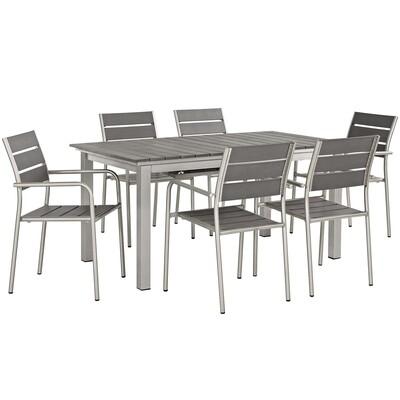 Shoreline 7 Piece Outdoor Aluminum Extension Dining Table Set | Aluminum Dining Chairs