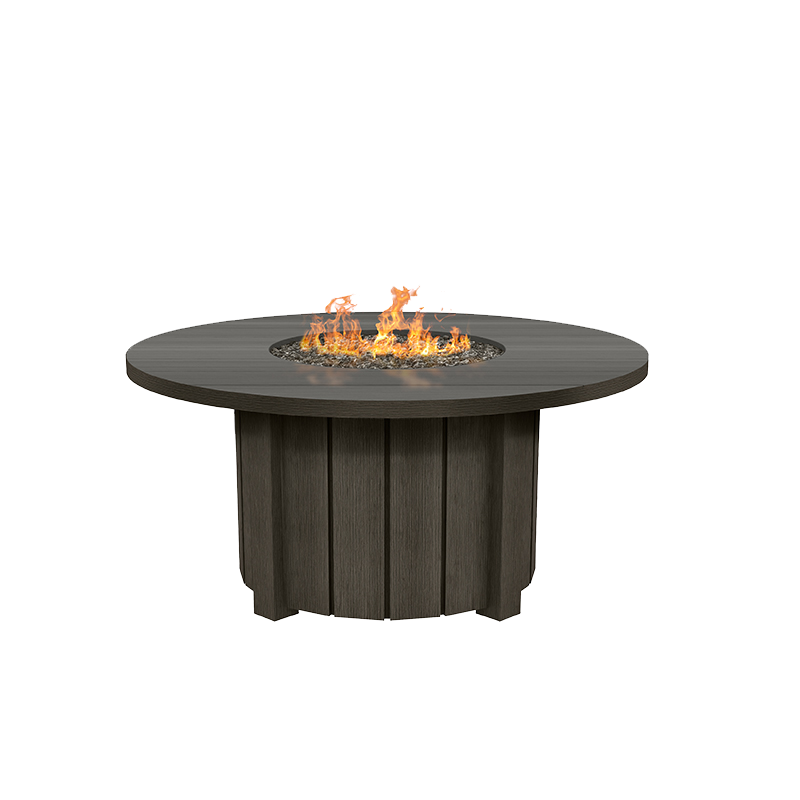 "Aluminum 50"" Round Fire Pit Table - Hickory Finish"