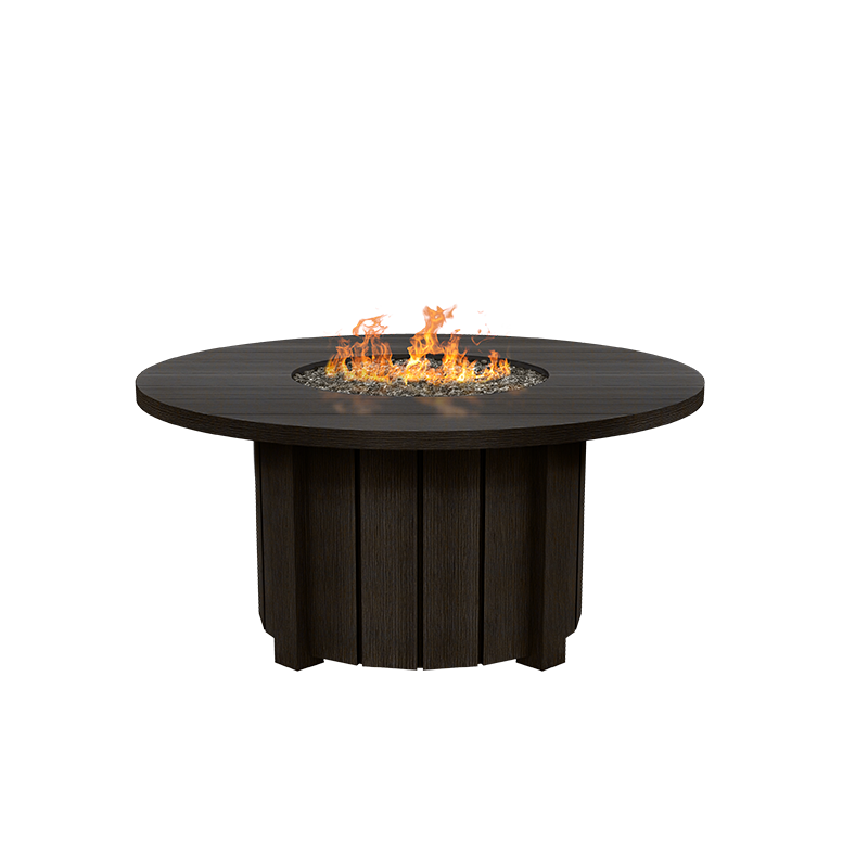 """Aluminum 50"""" Round Fire Pit Table - Chestnut Finish"""