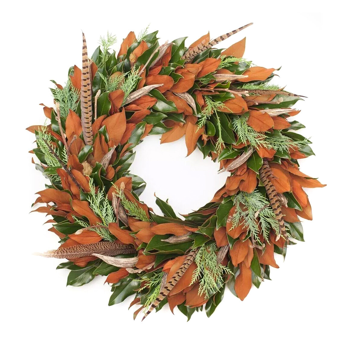 "Magnolia Stagg 28"" Wreath with Feathers"