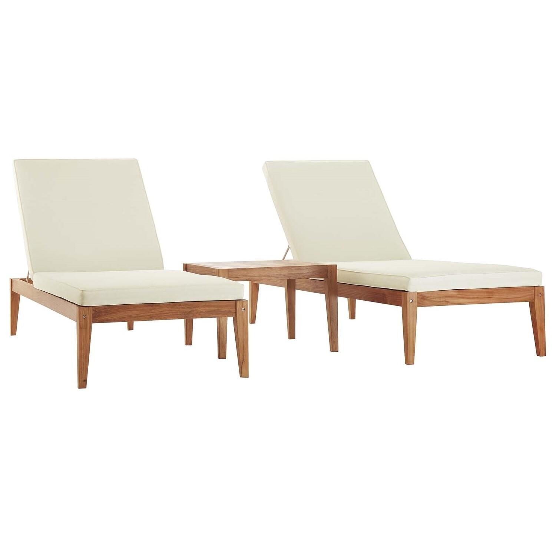 Northwood Teak Chaise Lounge 3pc Set