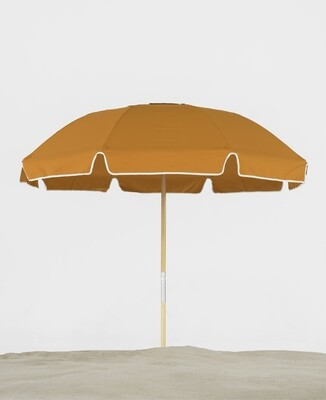 Avalon 7.5' Ash Wood Pole Beach Umbrella with Valance