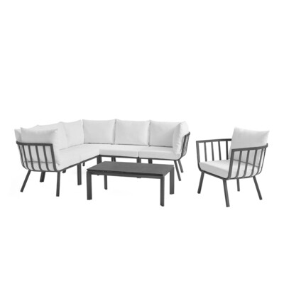 River North 7 Piece Outdoor Patio Sectional Set   Slate Frame