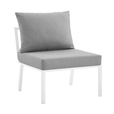 River North Patio Sectional Armless Chair   White Aluminum Frame