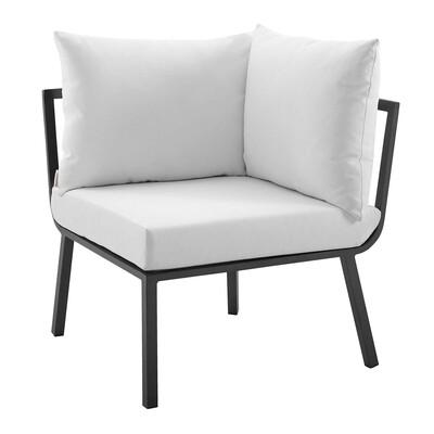 River North Patio Sectional Sofa Corner Chair   Slate Aluminum Frame