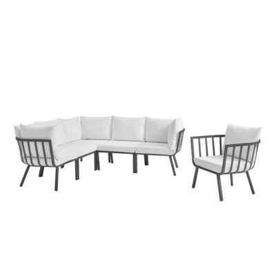 River North 6 Piece Outdoor Patio Sectional Set   Slate Frame