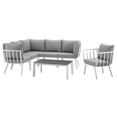 River North 7 Piece Outdoor Patio Sectional Set   White Frame