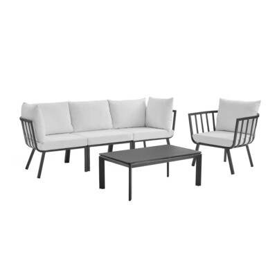 River North 5 Piece Outdoor Patio Sectional Set   Slate Frame