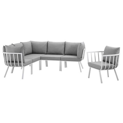 River North 6 Piece Outdoor Patio Sectional Set   White Frame