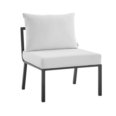 River North Patio Sectional Armless Chair   Slate Aluminum Frame
