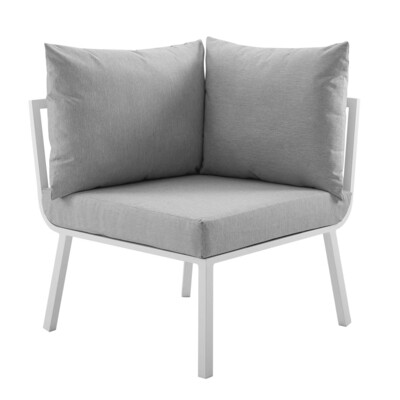 River North Patio Sectional Sofa Corner Chair   White Aluminum Frame