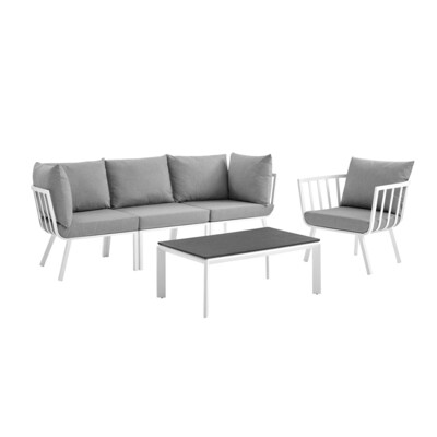 River North 5 Piece Outdoor Patio Sectional Set   White Frame