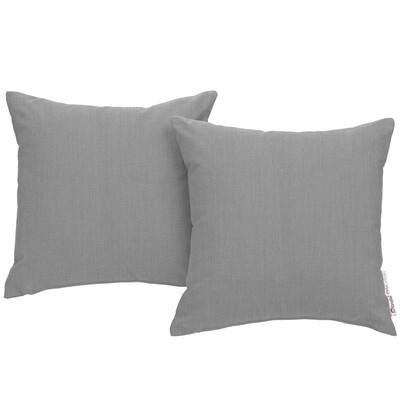 "Soho Patio 2 Piece Pillow Set  17"" x 17"" in Gray Canvas"