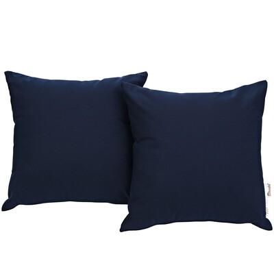 "Soho Patio 2 Piece Pillow Set  17"" x 17"" in Navy"