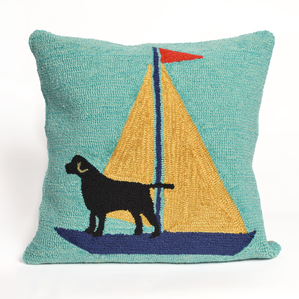 Sailing Dog Pillow (Yellow)