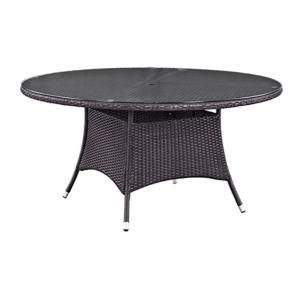 "Hinsdale Patio 59"" Round Dining Table with Glass Top"