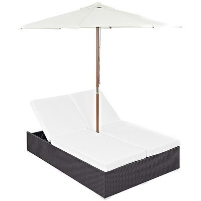 Hinsdale Patio Double Chaise with Umbrella | 2 Colors