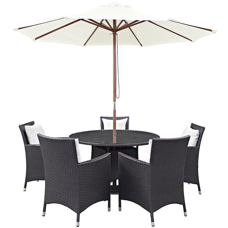 Hinsdale Patio 7 Piece Round Dining Set with Umbrella