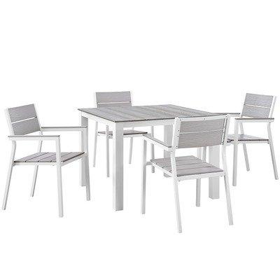State Street 5 Piece Square Dining Set (White)