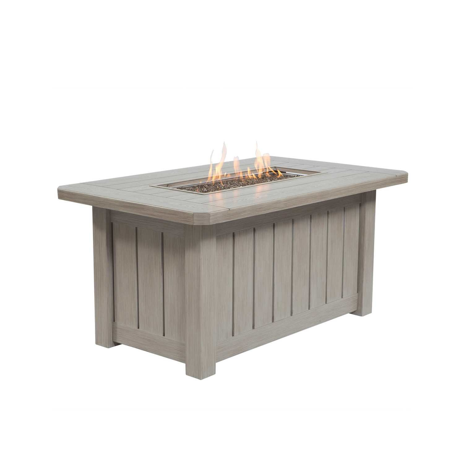 Aluminum Rectangular Fire Pit Table - Weathered