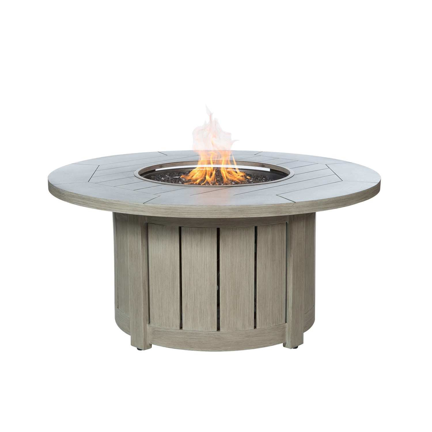 """Aluminum 50"""" Round Fire Pit Table - Weathered"""