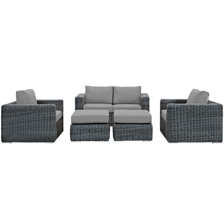 North Avenue Patio 5 Piece Conversation Set with Sunbrella® Cushion