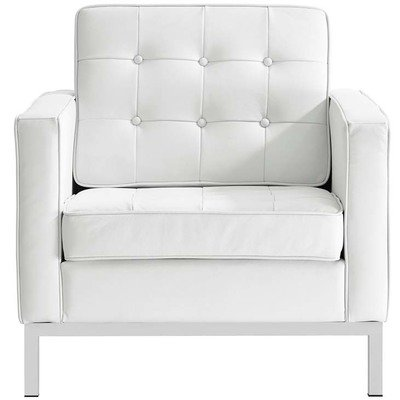 Printers Row Leather Armchair | Black or White