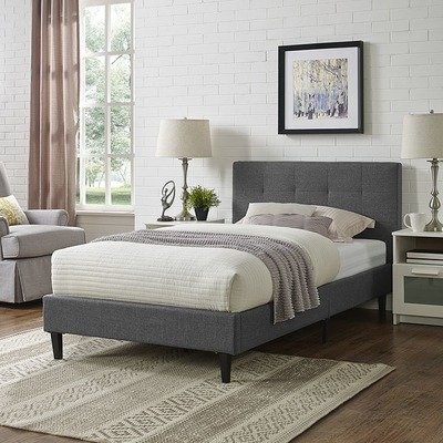 Lissa Fabric Twin Bed   6 Colors