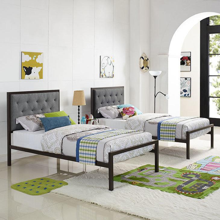 Madeline Twin Platform Bed | Gray