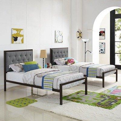Madeline Twin Platform Bed   Gray