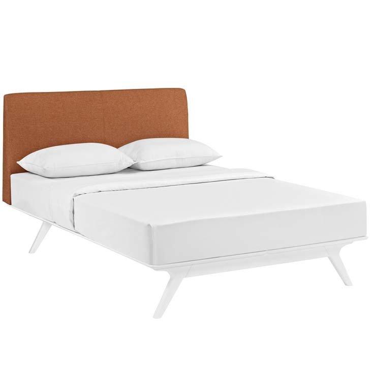 Julie Queen Platform Bed |  White Frame | 6 Colors