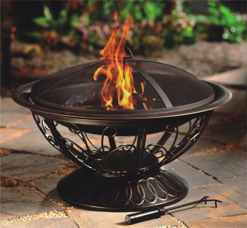 "30"" Wood Burning Firepit with Scroll Design"
