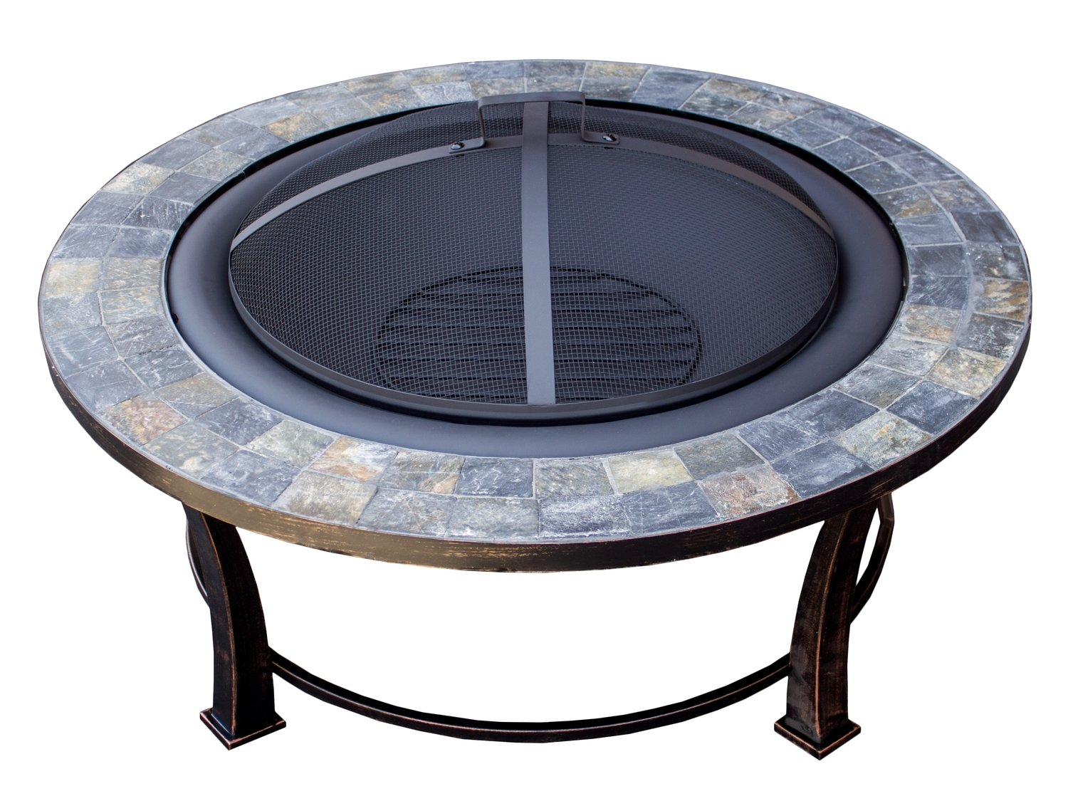 "40"" Round Slate Top Wood Burning Fire Pit"