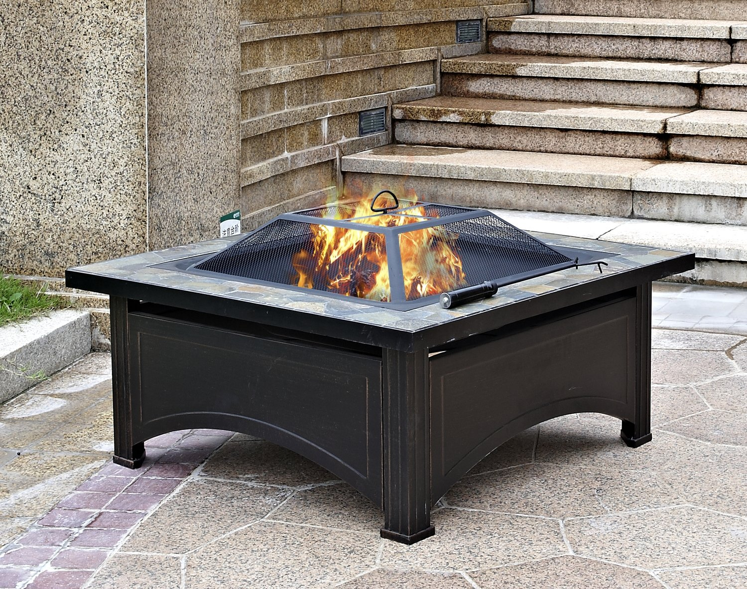 """36"""" Square Slate Top Wood Burning Fire Pit"""