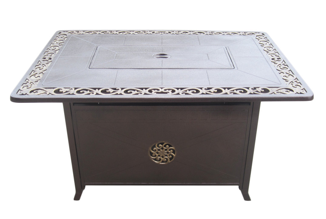 "49.5"" Rectangular Firetable with Scroll Design"