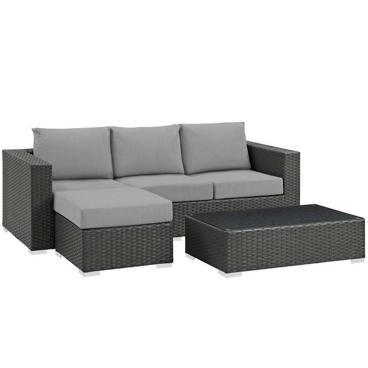 Soho Patio 3 Piece Sectional Set with Sunbrella® Cushion