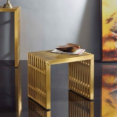 Gaines Stainless Steel Gold Bench / End Table