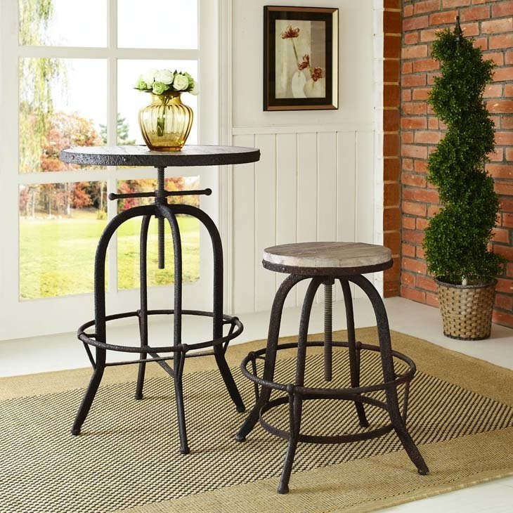 Scully's Wood Top Bar Stool | Brown or Black
