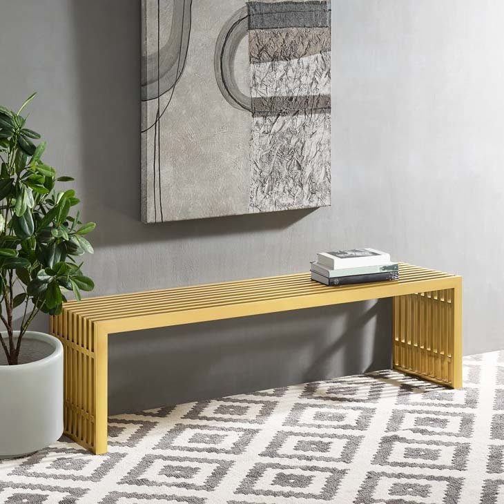 Gaines Large Stainless Steel Gold Bench