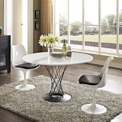 Hub Wood Top Dining Table / White