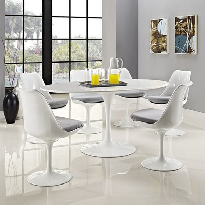 """Lila 60"""" Oval White Dining Table"""