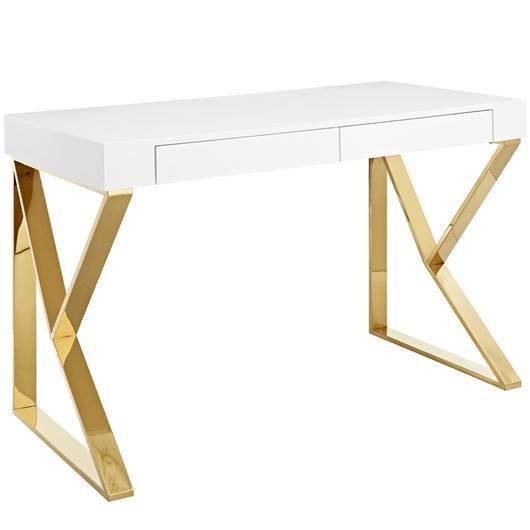 Ascent Office Desk / Gold and White