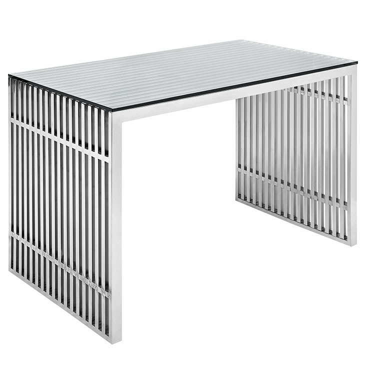 """48"""" Gaines Stainless Steel Office Desk   Silver"""