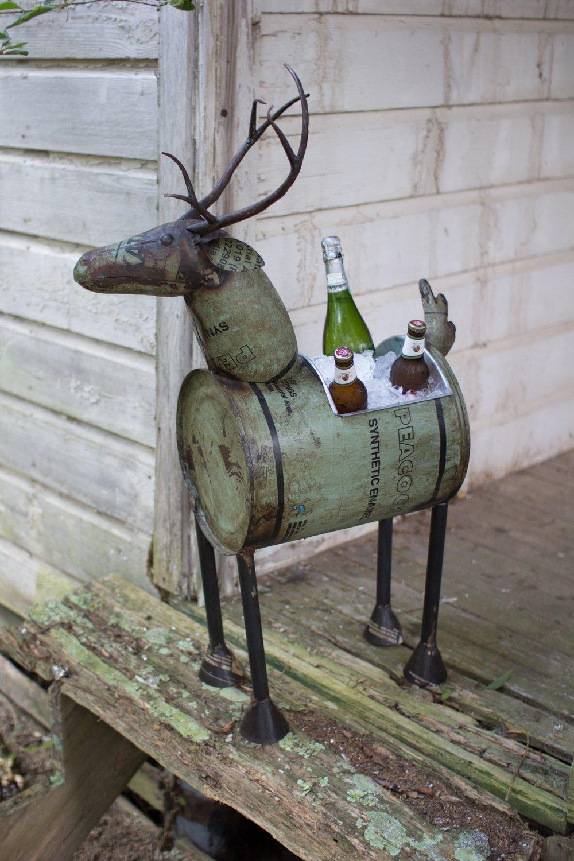 Reclaimed Metal Deer | Wine Cooler or Planter