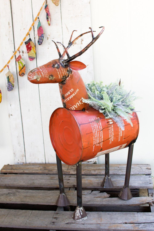 Reclaimed Red Metal Deer | Wine Cooler or Planter