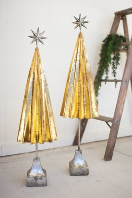 Folded Gold Metal Trees with Silver Star   Set of 2