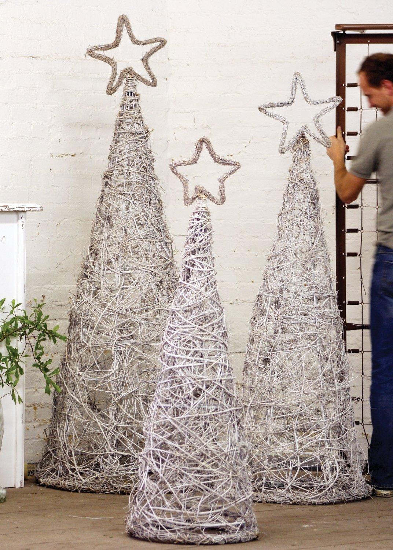 Giant Whitewash Iron Twig Topiaries with Finials | Set of 3