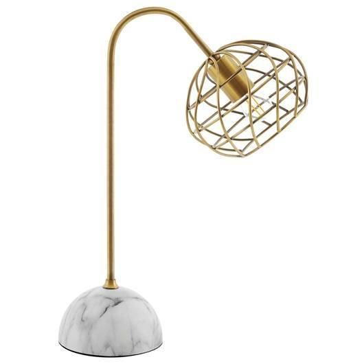 Brass and White Marble Table Lamp
